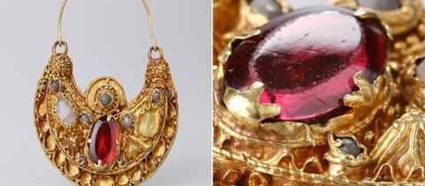 Ohrring aus Gold mit Edelsteinen und Perlen aus dem 10./11. Jahrhundert