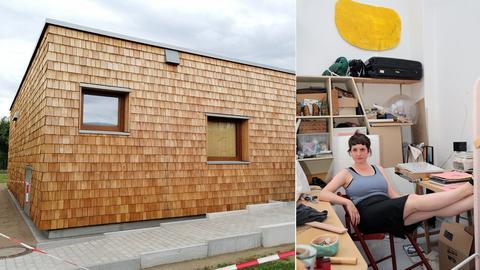 Collage: ein Holzbau und eine Frau in einem unordentlichen büro