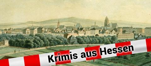 'Ansicht von Frankfurt am Main, vom Mühlberg aus'  Kupferstich, 1819