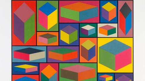 """Sol LeWitt """"Distorted Cubes"""", 2001 - Linolschnitt auf Tiefdruckpapier"""