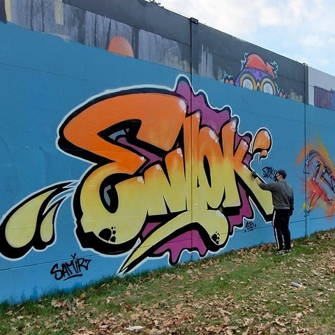 Streetart-Künstler malen an der Lincoln Wall in Darmstadt.
