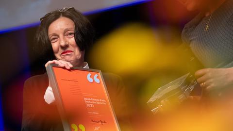 Literaturnobelpreisträgerin Herta Müller bei der Verleihung des Jacob-Grimm-Preis Deutsche Sprache.