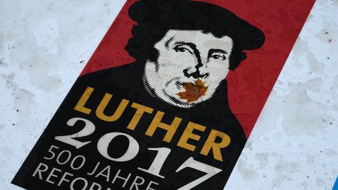 Plakat zum Reformationsjubiläum mit dem Konterfei von Martin Luther