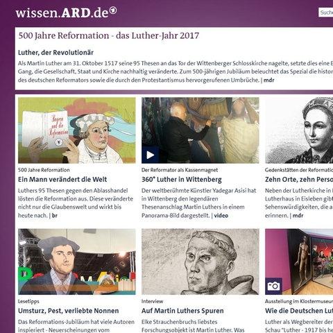 Screenshot der Seite wissen.ARD.de