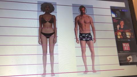 Bildschirm mit einem männlichen und einem weiblichen Körper