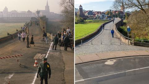 Die Bildkombo zeigt Menschen, die im Dezember 1989 an der Werrabrücke von Vacha (Thüringen) nach Philippsthal (Hessen) gehen, die Mauer ist an dieser Stelle abgerissen, ein weißer Strich markiert die Grenze und den Blick auf die Brücke des Friedens an derselben Stelle, aufgenommen am 19.10.2014