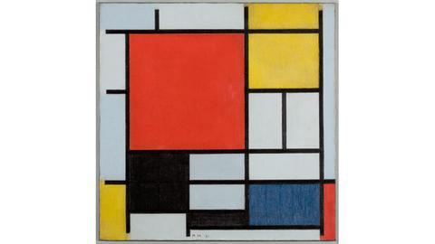 Piet Mondrian: Komposition mit großer roter Fläche, Schwarz, Grau und Blau