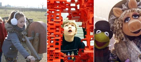 Collage: Freilichtmuseum Lauresham - Legobaustelle - Szene aus Muppets Weihnachtsfilm