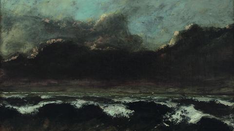 Gustave Courbet, Brandungswogen mit drei Segelschiffen, um 1870