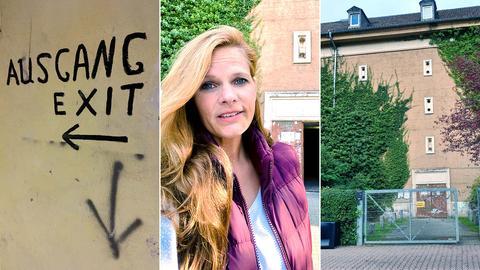 """Bildkombination aus drei Fotos: links ein Graffiti mit dem Schriftzug """"Ausgang/Exit"""", in der Mitte die Protagonistin in Großaufnahme vor dem Bunkereingang, rechts die Fassade des Bunkers."""