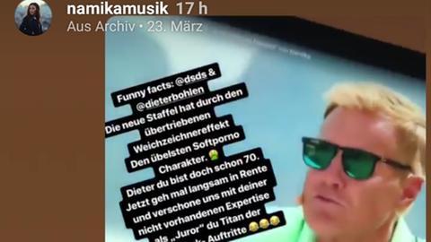 Screenshot von Namikas Insta-Story über Bohlen