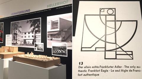 Bildkombo: Ausstellung mit Holzmodellen und Fotos von Gebäuden/ Adler-Logo im Bauhaus-Stil