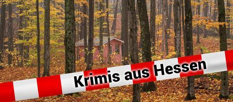 Walhütte mit Schriftzug Krimis aus Hessen