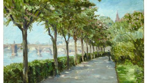 Jakob Nussbaum (1873-1936), Mainufer mit Blick auf Alte Brücke (1903), Öl auf Leinwand 70x100cm