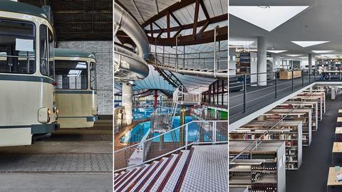 Bildkombination: Straßenbahnen Rebstockbad Lesesaal Nationalbibliothek