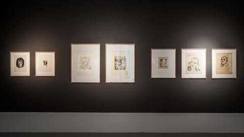 """Installationsansicht, """"Unsere Werte. Die Sammlung Frerich – Selbstporträts auf Papier"""""""