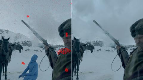 Links: Die roten runden Objekte sind digitale geometrische Modelle von Schneeflocken, die dann vom Computer (Licht, Schatten und Materialeigenschaften) berechnet werden. Der getarnte Mann in der Mitte hält übrigens das Pferd fest, damit es beim Drehen nicht abhaut. Rechts: So sieht der Zuschauer die Szene im fertigen Film.