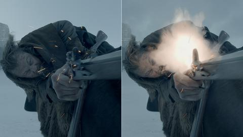 So sieht es aus, wenn DiCaprio während der Dreharbeiten schießt - und so spektakulär sieht der Schuss im Film aus.