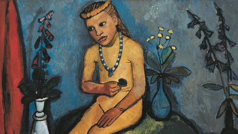 Gemälde mit nacktem Mädchen und Blumen