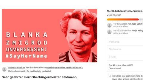 Screenshot der Online-Petition auf change.org - ein Foto von Blanka Zmigrod