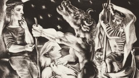 Der blinde Minotaurus von einem Mädchen durch die Nacht geführt, 1934,