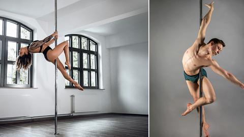 Bildkombo: Poledancer  Bianca Okugic und Simon Koch an der Stange