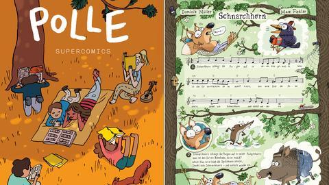 """Deckblatt des Kindercomics Polle und Ausschnitt aus Comic """"Das Schnarchhorn"""""""