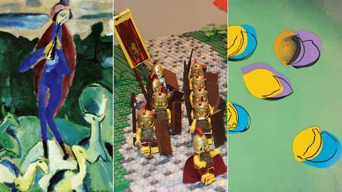 """Bild-Kombination aus Ida Kerkovius """"Hirte"""", Lego-Modell mit Römern und Andy Warhol """"Space Fruit"""""""
