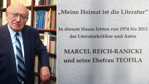 """Bildcollage. Links Ranicki vor einer Bücherwand, rechts die Tafel, auf der steht: """"Meine Heimat ist die Literatur"""". In diesem Hause lebten von 1974 bis 2013 der Literaturkritiker und Autor Marcel Reich-Ranicki und seine Ehefrau Teofila."""