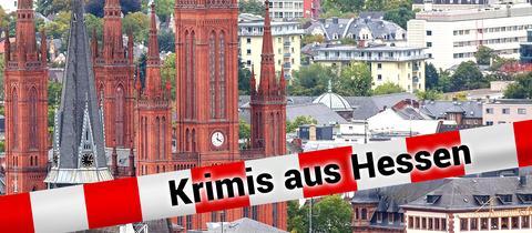 Blick vom Neroberg auf die rote Marktkirche der hessischen Landeshauptstadt Wiesbaden