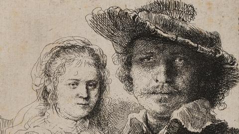Rembrandt mit Saskia, 1636, Radierung