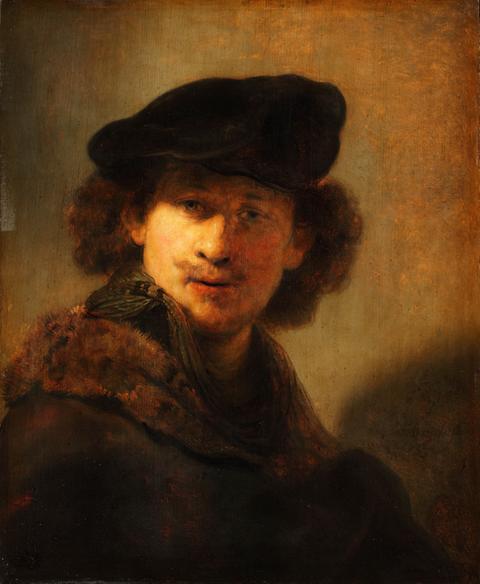 Foto eines Gemäldes von Rembrandt -  ein Selbstbildnis.