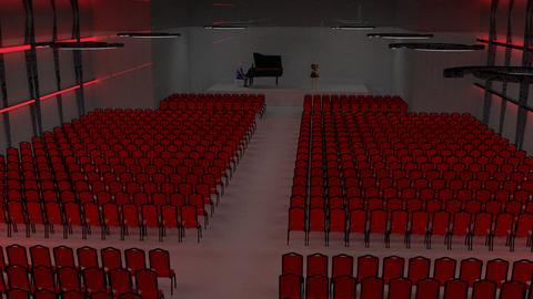 Künstlerische Darstellung eines Konzertsaals mit zahlreichen Stuhlreihen vor einer Bühne.