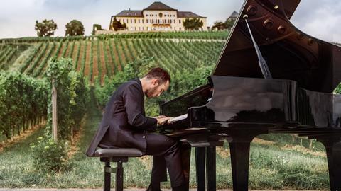 Klavierspieler vor Weinberg