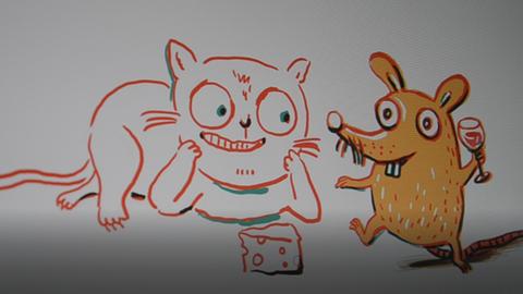 Zeichnung Kater und Maus