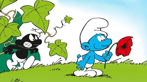 Ein schwarzer und ein blauer Schlumpf