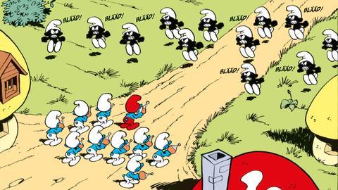 Angriff schwarzer Schlümpfe auf blaue Schlümpfe