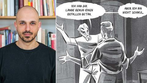 Kombination aus einem Portrait des Comiczeichners und einer Zeichnung seines Comics.