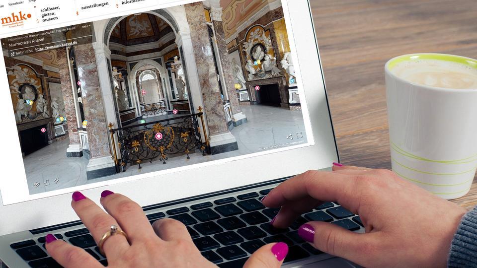 Webseite der Museumslandschaft Hessen Kassel auf einem Laptop