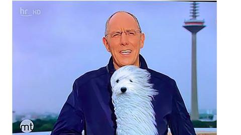 Wettermoderator Thomas Ranft spricht in ein Mikrofon, das wie ein puscheliger Hund aussieht