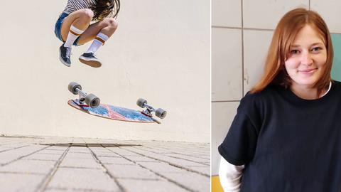 Eine Kombination aus zwei Fotos: links ein Skateboard in Fahrt mit zwei Füßen, rechts das Portrait der Skaterin.