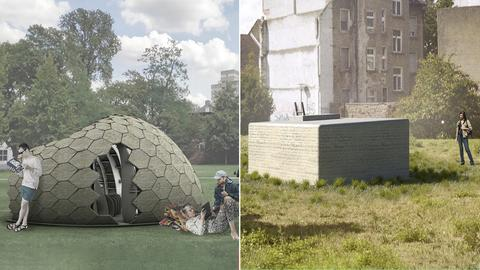 """Zwei Entwurfszeichnungen von Skulpturen namens """"Tiny Be"""" in Kombination. Eine kubische und eine amorphe Form auf je einer Wiese und darin und drumherum Menschen."""