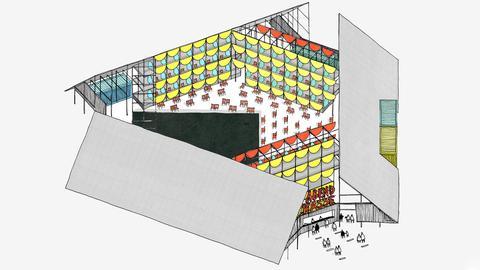 Zeichnung, die den Entwurf des Sommerbaus darstellt.