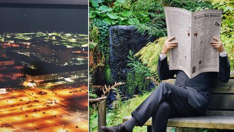 "Bildkombo: Trevor Paglen ""xxx""/ Rodney Graham, ""Newspaper Man"""
