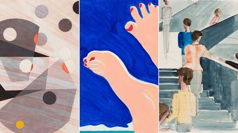 Drei Bilder, die neu angekauft wurde: links abstrakte Formen von Moholy-Nagy, mittig Füße vor Blau von Wesselmann und rechts eine Treppenhaus mit Menschen von Schlemmer.