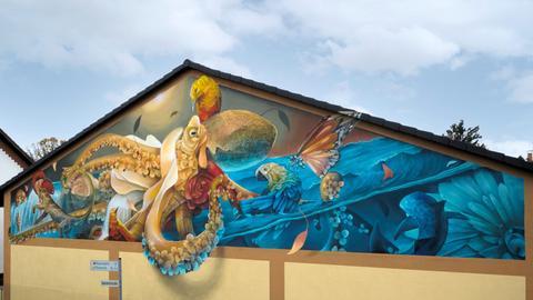 Graffiti des Künstlers Curtis Hylton: Gesprayte, bunte Krake auf einer Hauswand.
