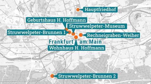 Karte zeigt Spielorte des Struwwelpeter in Frankfurt