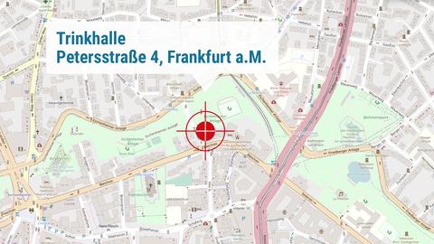 """Die Karte zeigt den Drehort """"Trinkhalle"""" in der Petersstraße 4 in Frankfurt."""