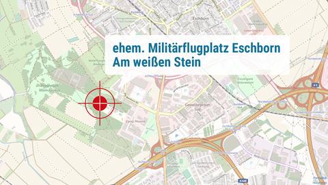 Die Karte zeigt den Ort des ehemaligen Militärflughafens nahe Eschborn.