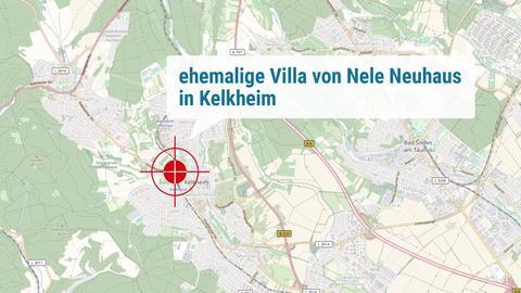 Die Karte verortet die ehenmalige Villa von Nele Neuhaus.